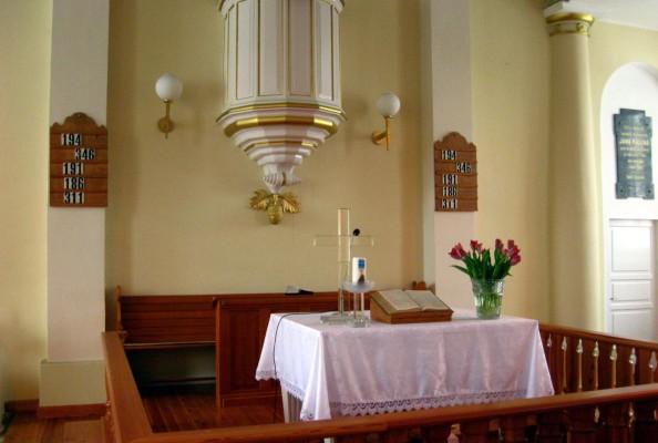 Stół Pański w kościele ewangelicko-reformowanym w Zelowie