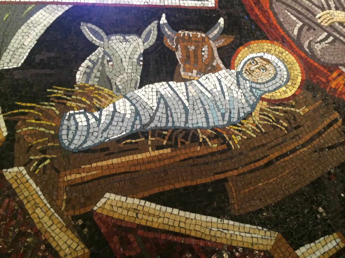 Narodzenie Pańskie - mozaika z belgradzkiej cerkwi