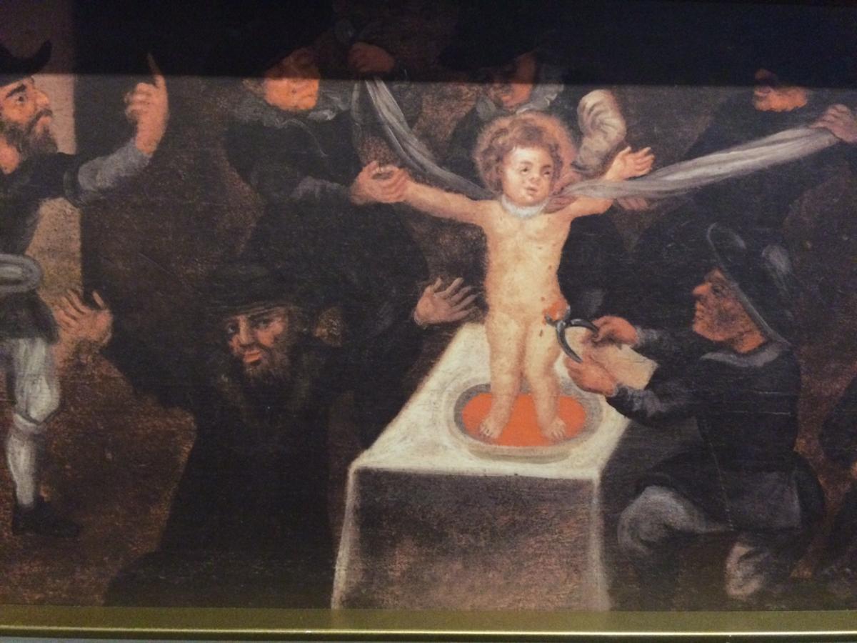 antyjudaistyczny obraz pokazujący Żydów mordujących rytualnie chrześcijańskie dziecko