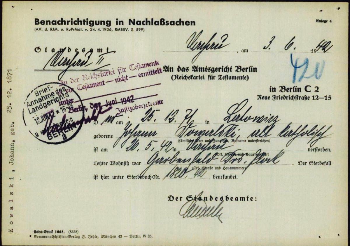 dokument dotyczący rzeczy pozostawionych przez abp. Kowalskiego