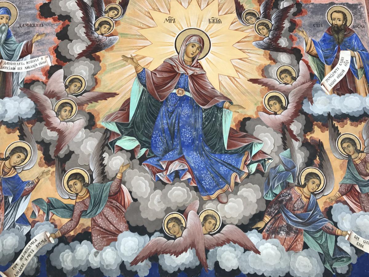 fresk przedstawiający Matkę Bożą - Rylski Klasztor Prawosławny (Bułgaria)