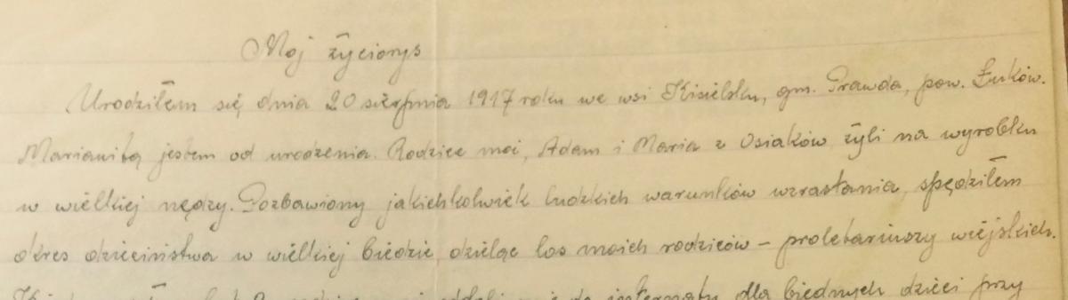 fragment życiorysu napisanego własnoręcznie przez abp. M. Rafaela Wojciechowskiego