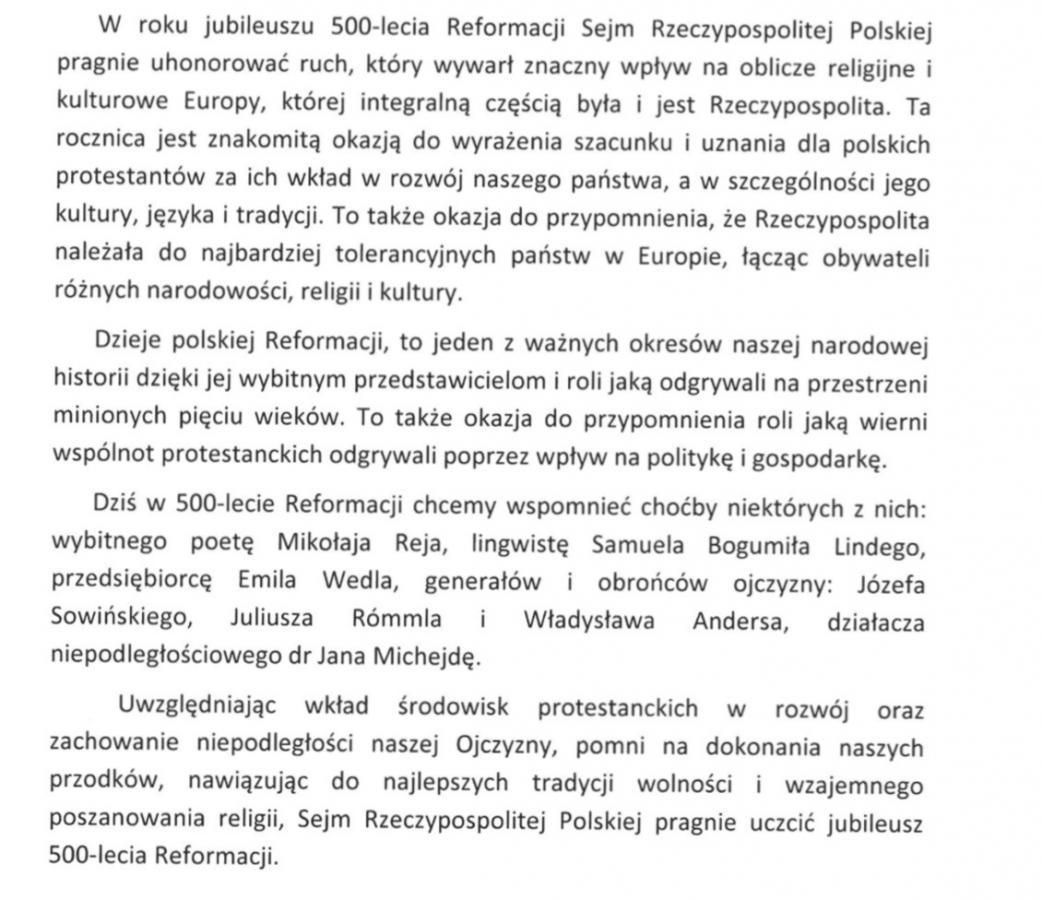 Druk Sejmowy nr 2133 - uchwała w sprawie 500 lat reformacji