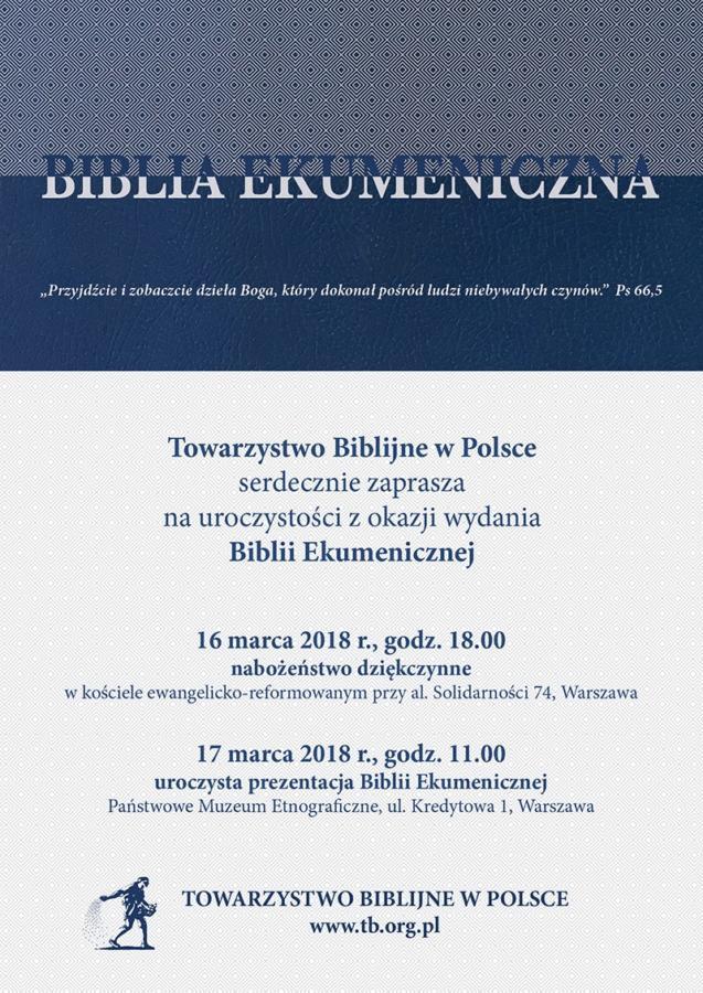 uroczystość wydania Biblii Ekumenicznej