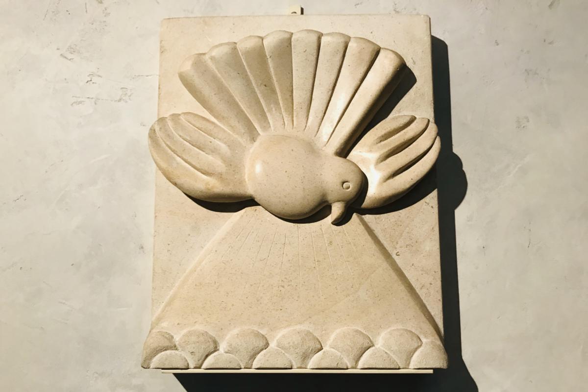 płaskorzeźba - wylanie Ducha Świętego (kościół reformowany Marii Magdaleny w Genewie)