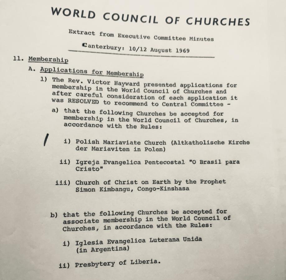 wyciąg z protokołu o przyjęciu Kościoła Starokatolickiego Mariawitów do ŚRK