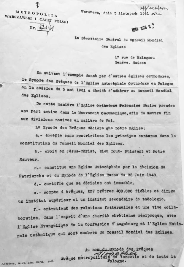 List metropolity Tymoteusza (Szrettera) z 3 listopada 1961 r.