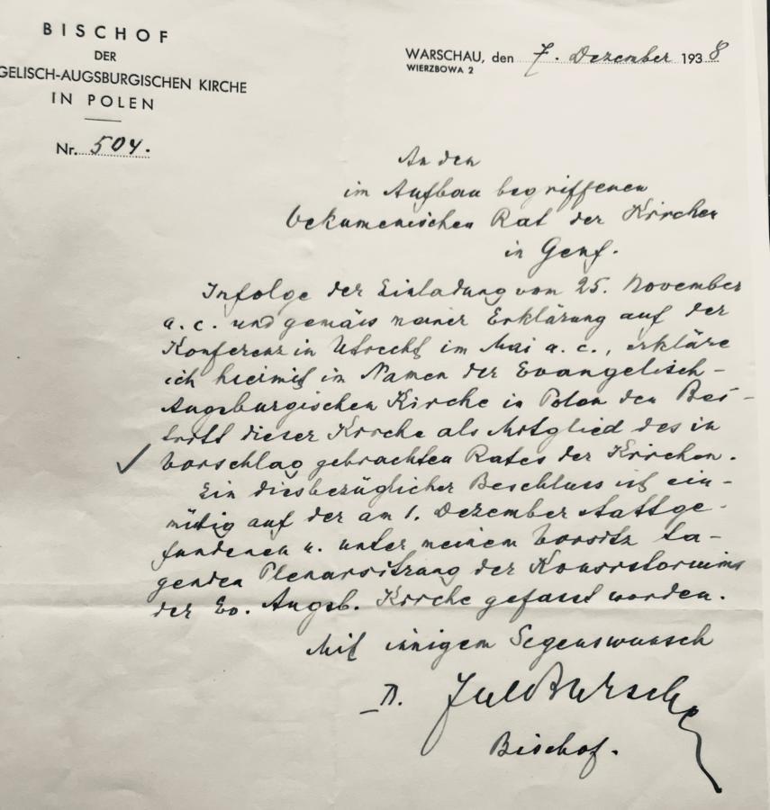 List bpa Juliusza Burschego z 7 grudnia 1938