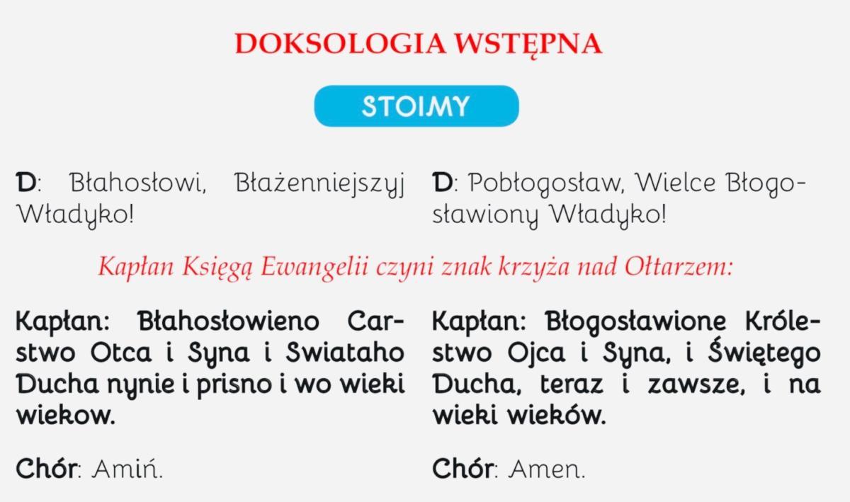 dwujęzyczny tekst liturgii na Przemienienie Pańskie